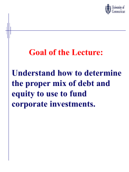 Capital Structure and Dividend Lecture