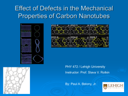 Effect of Defects in the Mechanical Properties of