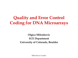 Joint Quality and Error Control Coding for DNA Microarrays