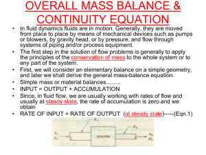 overall mass balance & continuity equation