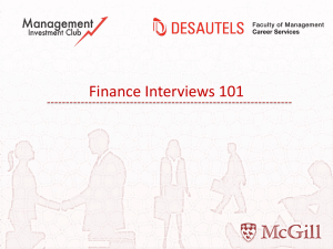 Finance Interview Prep - McGill Investment Club