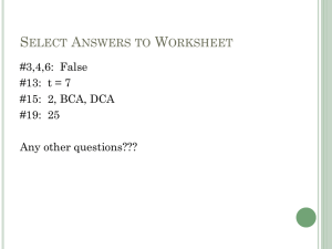 Select Answers to Worksheet