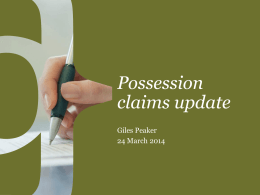 View the Possession Claims presentation from this