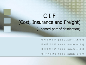 CIF(Cost, Insurance Freight) (..named port of destination)