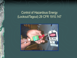 Lockout/Tagout - Environmental Health and Safety