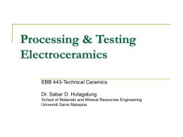 Processing Electroceramics - School of Materials and Mineral