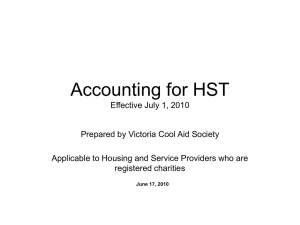 Accounting for HST Effective July 1, 2010 - BC Non