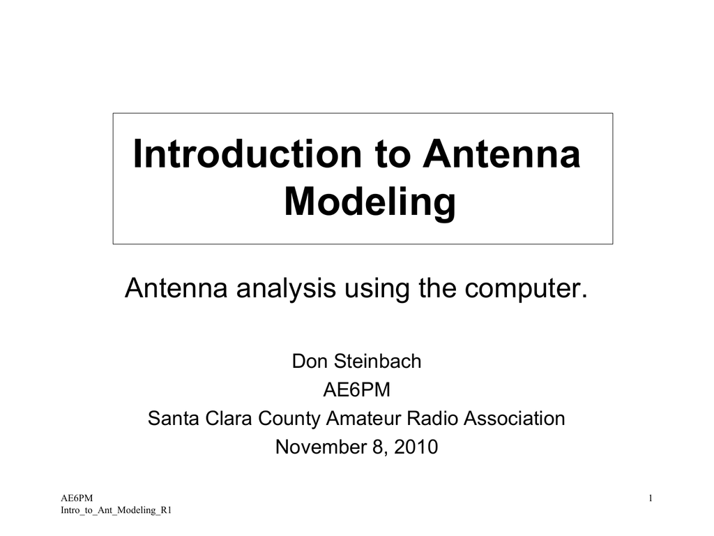 Introduction to Antenna Modeling