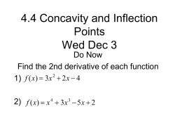 3.5 Concavity and Inflection Points Thurs Dec 02