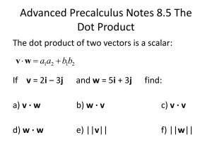 Advanced Precalculus Notes 8.5 The Dot Product