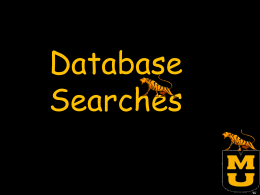 Database search introduction
