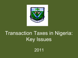 Transaction Taxes in Nigeria