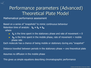 Performance parameters (Advanced) Theoretical Plate Model