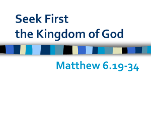 Seek First the Kingdom of God - St. Peter in Eastgate Church