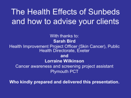 Health effects of using sunbeds