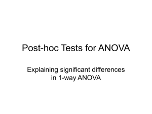 Post-hoc Tests for ANOVA