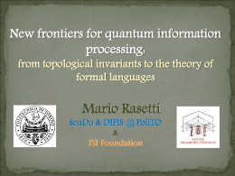 Quantum information, topological invariants and formal