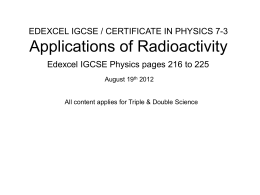 Applications of Radioactivity - Non