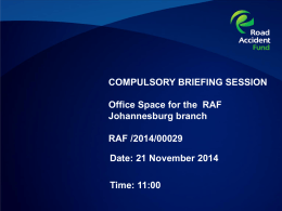 Johannesburg Office Space - Compulsory Briefing Session
