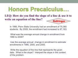 power point/LEQ: How do you find the slope of a line & use it to