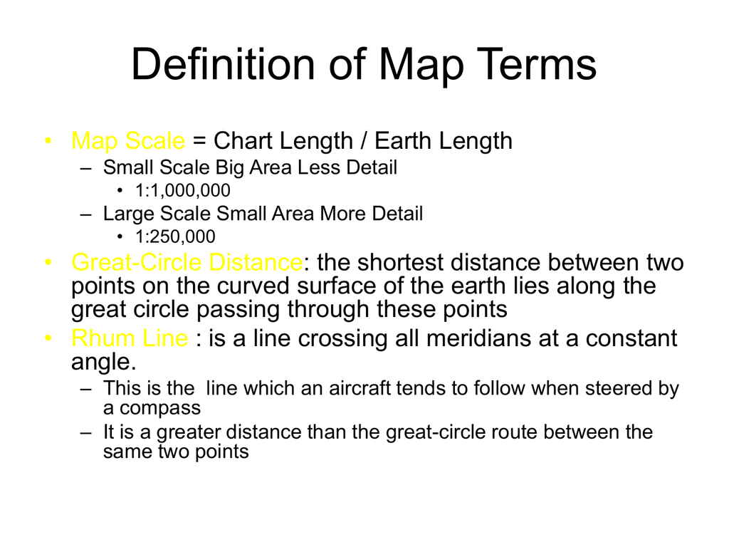 Definition of Map Terms on