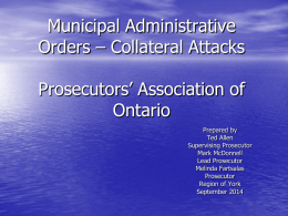 Building Code Act - Prosecutors` Association of Ontario