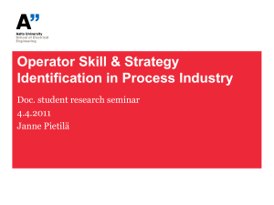 Operator Skill & Strategy Identification in Process Industry