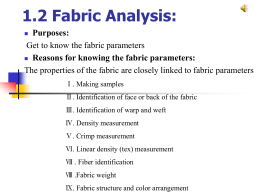 Reasons for knowing the fabric parameters