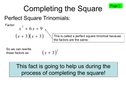 Completing the Square - Camden Central School