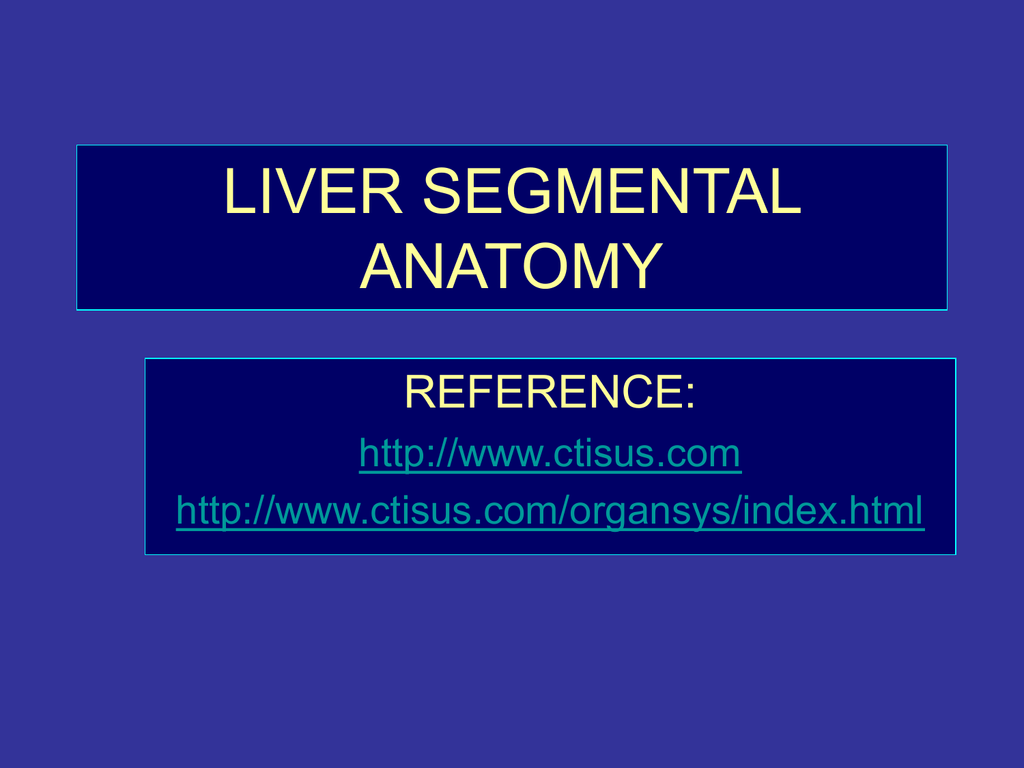 Liver Segmental Anatomy Department Of Medical Imaging