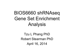 Bioinformatics Workshop: Gene Set Enrichment Analysis