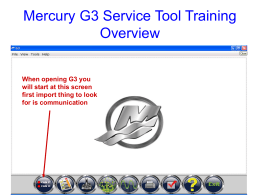 Mercury G3 Service Tool Training Overview