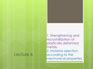 1. Strengthening and recrystallization of plastically deformed metals
