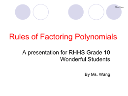 Rules of factoring polynomials Flow Chart