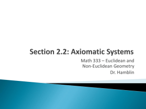 Section 2.2: Axiomatic Systems