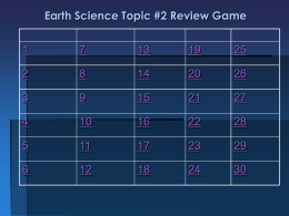 Topic #2 Review Game Answer Sheet