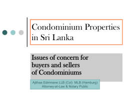 Issues of concern for buyers and sellers of Condominiums