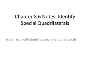 Chapter 8.6 Notes: Identify Special Quadrilaterals