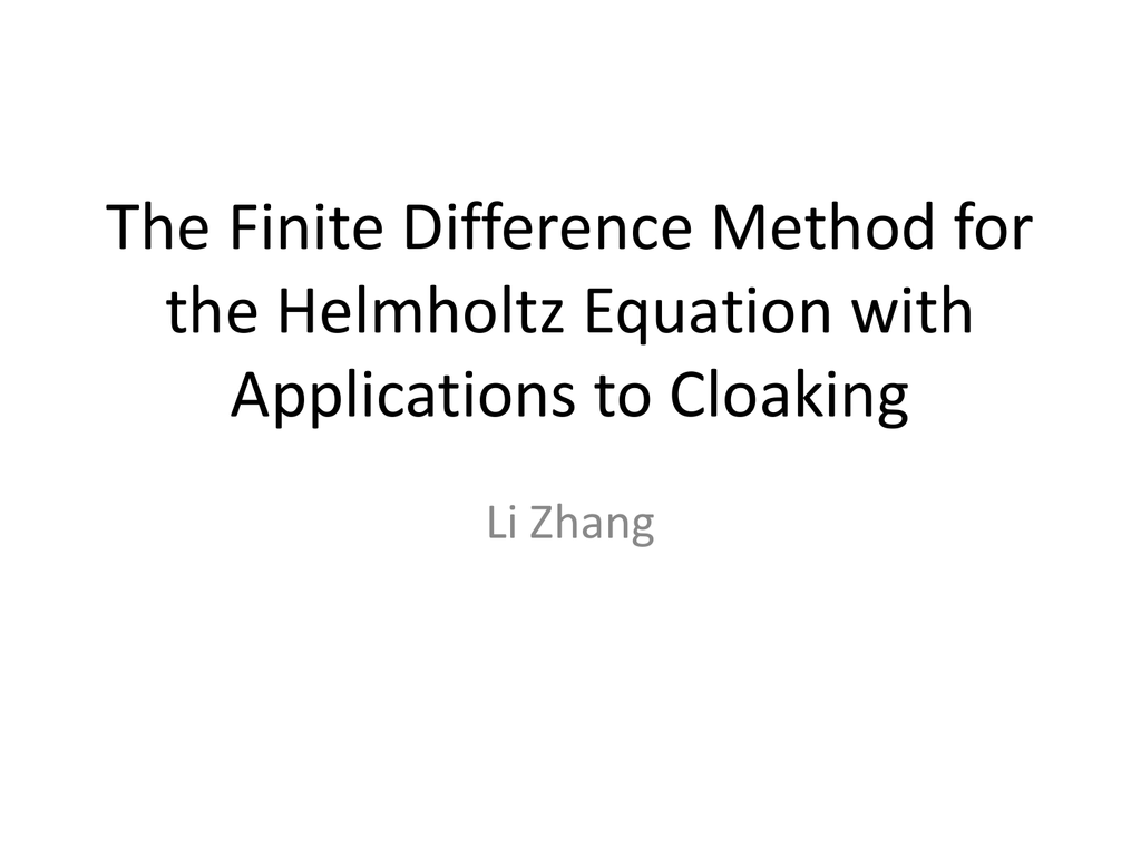 The Finite Difference Method for the Helmholtz Equation with