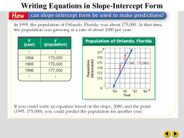 Writing Equations in Slope