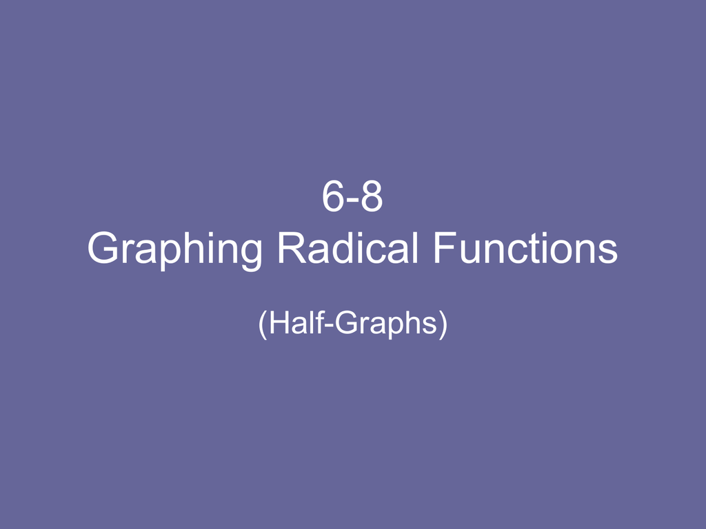 7 8 Graphing Radical Functions