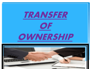 Transfer of property or ownership