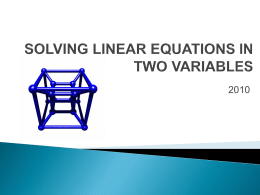 Linear Equations with Two Variables PPT
