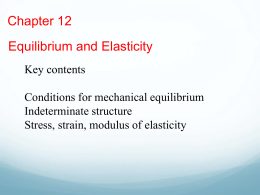 Chapter 12 - Equilibrium and Elasticity