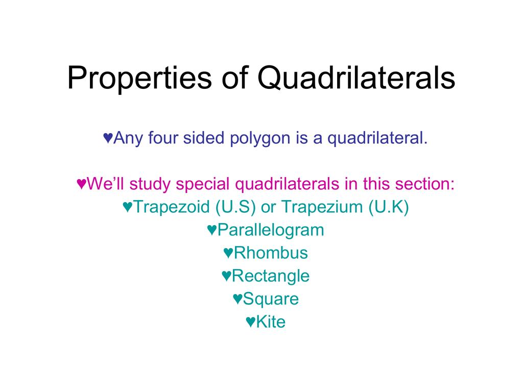 worksheet Identifying Quadrilaterals 3 2 properties of quadrilaterals