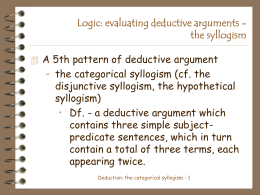 Logic: evaluating deductive arguments - the syllogism