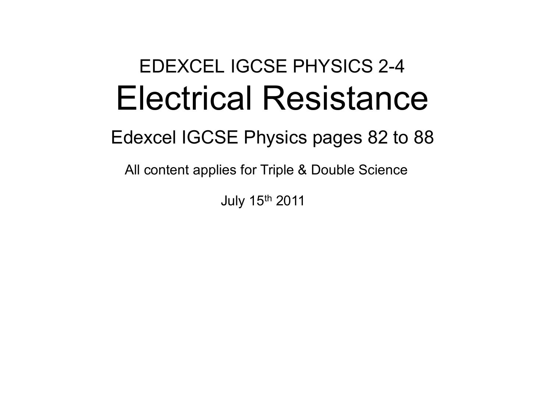 edexcel resistivity case study