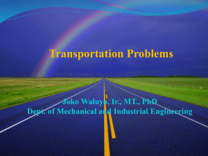 Special Cases in Transportation Problem