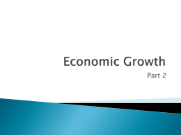 Economic Growth - University of St. Thomas