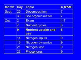 Nutrient uptake and use